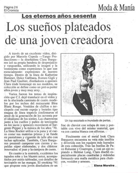 Clara Ibarguren - 1991 - Nota periodística en revista de moda